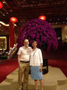 Bishop Steve and Gretchen Lane in the lobby of the Grand Hotel in Taipai